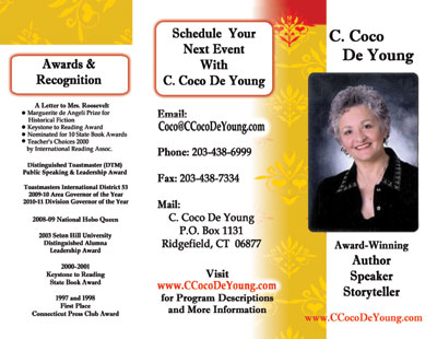 Speaking brochure for C. Coco De Young