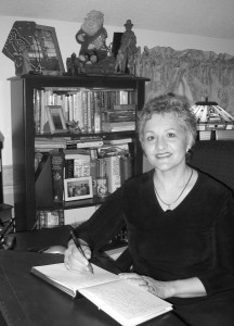Carmine Coco De Young at her writing desk